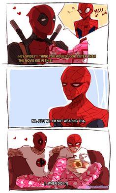 spideypool cuz why not Can't resist. Disney Marvel, Marvel Art, Marvel Dc Comics, Marvel Heroes, Marvel Avengers, Spideypool, Superfamily, Marvel Jokes, Marvel Funny