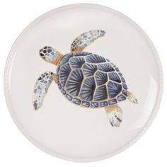 Add a coastal-chic touch to your tablescape with this lovely stoneware plate, showcasing a charming sea creature motif in blue and cream.