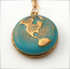 Unique World Globe Map Planet Earth Locket Pendant Necklace,  Turquoise Ocean Sea Jewelry with Brass Gold Chain