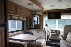 Browse our RV renovation photo gallery to see how we transformed an outdated camper into a Mountain Modern Motorhome! Camper Renovation, Home Renovation, Rv Kitchen Remodel, School Bus Tiny House, Travel Trailer Organization, Rv Interior, Camper Makeover, Mountain Modern, Remodeled Campers