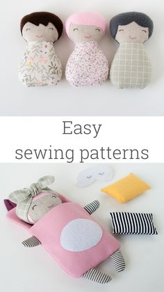 Dolls sewing patterns PDF Soft toys tutorial Sleeping bags for dolls Handmade fabric doll and bedding Travel toys Play set Rag doll for girl Doll Sewing Patterns, Sewing Dolls, Clothes Patterns, Sewing Crafts, Sewing Projects, Baby Toys, Girl Toys, Zoo Toys, Toys Uk