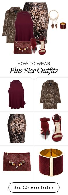 """plus size wine and glitter/holiday glam"" by kristie-payne on Polyvore featuring Samoon, H&M, Anne Michelle, Shiraleah, Swarovski, Silver Forest and Dsquared2"