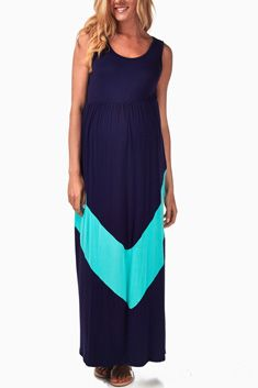 Navy Mint Chevron Maternity Maxi Dress