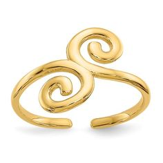 Yellow Gold Swirl Adjustable Cute Toe Ring Set Fine Jewelry Gifts For Women For Her Gold Toe Rings, Swirl Pattern, Swirl Design, Summer Jewelry, Jewelry Trends, Fashion Jewelry, Bling, Jewels, Yellow