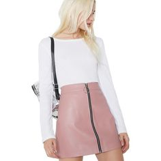 Pink Vegan Leather Zip-Up Mini Skirt ($48) ❤ liked on Polyvore featuring skirts, mini skirts, a line skirt, zip up skirt, short mini skirts, short pink skirt and pink mini skirt