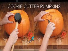 Use cookie cutters to carve pumpkin