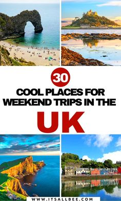 The UK is full of amazing places to visit, whether you are a native in the UK, or visiting and looking for ideas on quick weekend ideas from London or any of the cities in the UK you will love our list of ideas for places to have quick weekend breaks in the UK. From Cornwall, York, Edinburgh, Glasgow, Cambridge, Bournemouth and more!  Click for inspiration. #itsallbee #traveltips #adventure #beaches #citybreak #itsallbee Best Romantic Getaways, Best Weekend Getaways, Weekend Trips, Day Trips, Edinburgh Travel, Scotland Travel, Ireland Travel, Places To Visit Uk, Europe Travel Guide