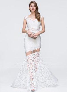 [US$ 129.99] Trumpet/Mermaid Scoop Neck Sweep Train Lace Prom Dress