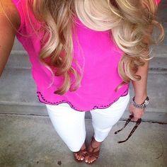 hot pink + white