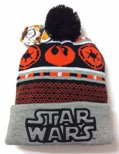 New STAR WARS REBEL ALLIANCE POM BEANIE Gray/Orange Plush Winter Knit Hat MENS #StarWars #Beanie
