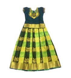 Ready to wear Pure Silk Pavadai Yellow and Green, Suitable for Birthdays, Temple Visits, Festivals a Kids Dress Wear, Kids Gown, Dresses Kids Girl, Baby Frocks Designs, Kids Frocks Design, Baby Girl Frocks, Kids Blouse Designs, Girls Frock Design, Kids Lehenga