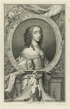 Jacob Houbraken   Portret van Maria Henrietta Stuart, Jacob Houbraken, Jacobus Haffman, Pieter Meyer, 1752   Portret van Maria Henrietta in een ovaal met randschrift. Rondom ligt een aantal allegorische objecten.