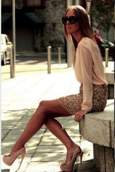 sequined skirt zara, fashion blogger