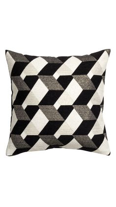 Jacquard-weave cushion cover: Cushion cover with a jacquard-weave wool blend containing glittery threads on the front, cotton twill on the back and a zip fastening. Diy Pillows, Decorative Pillows, Throw Pillows, Black White Pattern, White Patterns, Cushion Covers, Pillow Covers, Bed Rug, Quilling Patterns