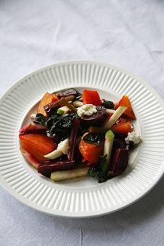 Lidia's Roasted Beet & Beet Green Salad w/Apples & Chevre