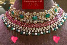 Diamond Necklaces : Hyderabadi Jewellery - Uncut Diamond choker - Buy Me Diamond Indian Jewelry Earrings, Indian Wedding Jewelry, Bridal Jewelry, Fine Jewelry, Gold Jewellery, Choker Necklaces, India Jewelry, Chokers, Jewellery Shops