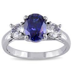 M by Miadora Sterling Silver Created Blue and White Sapphire Fashion Ring - Overstock™ Shopping - Top Rated Miadora Gemstone Rings