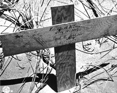 Grave of the first American casualty on the beach near Gela during the invasion of Sicily