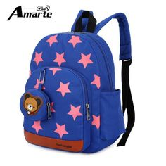 db2c645bc 2017 New Cute Starts Printed Kids Bags Fashion Nylon Children Backpacks for  Kindergarten School Backpacks Bolsa Escolar Infantil