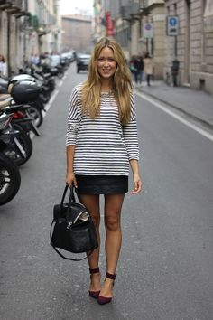 A Fashion Love Affair | Milan | Around The Piazza - stripes and black leather mini