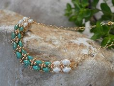 Modern Beaded Woven Tube Necklace in Gold White Pastel от LiBeadi