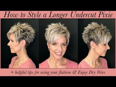 Here is the first hair tutorial (with many more to come😘) of my latest undercut pixie. I've also included extra tips for using a flat iron, details on using . Funky Short Hair, Short Choppy Hair, Short Grey Hair, Short Hair Cuts For Women, Long Pixie Hair, Short Stacked Hair, Short Wavy, Wavy Hair, Short Spiky Hairstyles