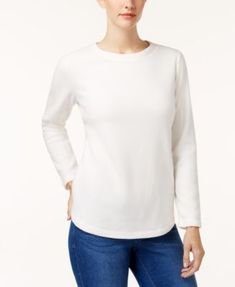 Karen Scott Fleece Crew-Neck Sweatshirt, Created for Macy's - Purple XXL