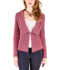 Look at this Tough Luv Burgundy Ruffle-Back Blazer on #zulily today!