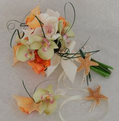 Beach Wedding Bouquet-Orchid Calla Lily Rose Starfish by 3Mimis