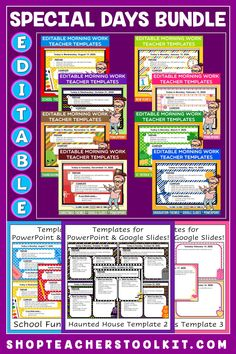 This special occasions-themed Editable PowerPoint and Google Slides Teacher Templates Bundle includes space to type the day and date, reminders of what to do when entering the classroom, as well as 'must do' and 'may do' assignments. Remind your students of their morning assignments during arrival time by displaying them on your whiteboard or SMARTBoard. #teachertemplates #morningarrivalinstructions #editable #powerpoint #googleslides #specialdays #bundlesavings