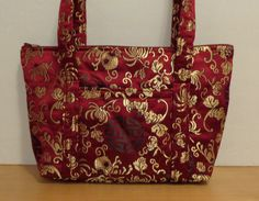 Burgundy Gold Black Brocade Quilted Small Purse Holiday Bag by RoxannasBags on Etsy