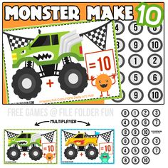 Monster Truck Make 10 Game for Kids.