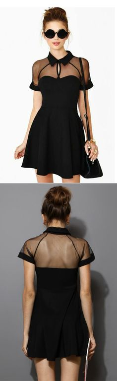 Black Mesh Peak Collar Dress. Interesting. I'm not sure about the collar though.
