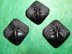 """3 - 7/8""""  DECORATIVE BLACK PLASTIC 2-HOLE BUTTONS - Lot#K399"""