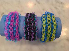 Rainbow Loom Triple Swirl bracelet from AllysBracelets. https://www.youtube.com/watch?v=iK9ZVw3E_PI