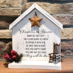 Christmas in Heaven Heaven Sign Christmas Decor Christmas Signs, Rustic Christmas, Christmas Crafts, Christmas Decorations, Xmas, Merry Christmas In Heaven, Christmas Chair, Christmas Blocks, Christmas Poems