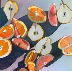 Pear Orange Grapefruit by Erika Lee Sears Art And Illustration, Painting Inspiration, Art Inspo, Art Sketches, Art Drawings, Kunst Inspo, Posca Art, Guache, Wow Art