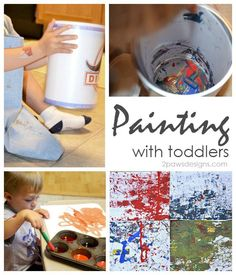 Painting Fun with Toddlers - 2 easy ways to have fun and safely paint with toddlers.