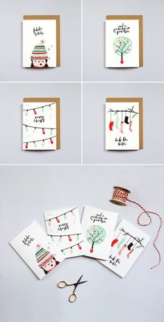 The Lovely Drawer Christmas Cards brush lettering illustration watercolour design art Christmas idea Watercolor Christmas Cards, Diy Christmas Cards, Watercolor Cards, Christmas Design, Xmas Cards, Christmas Art, Diy Cards, Holiday Cards, Christmas Decorations