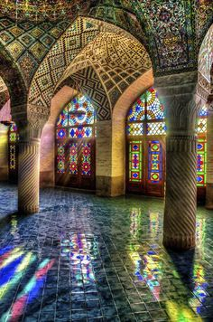 Mosque of Colors Photo by Ramin Rahmani Nejad -- National Geographic Your Shot. Nasir Al-Mulk Mosque, Shiraz, Iran Art Et Architecture, Islamic Architecture, Beautiful Architecture, Beautiful Buildings, Colourful Buildings, Contemporary Architecture, Beautiful Mosques, Beautiful Places, Beautiful Scenery