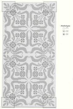 Filet crochet - see legend on right for the three different patterns to use