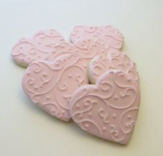 Pink Heart decorated cookie favors, Wedding favors, Valentines Day gift, 1 Dozen