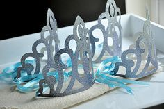 Elsa Crowns as Frozen Party Favors  ******  Our Confetti Momma Elsa Crowns are perfect for adding a little sparkle to your Frozen Inspired