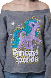 This My Little Pony sweatshirt shows the popular lavender pony Princess Sparkle in her mimic pose. The cut of this sweatshirt is off the shoulder, giving it a retro look. Everyone will instantl My Little Pony Clothes, My Little Pony Shirt, Little Poney, Diy Clothes, Kawaii Clothes, Daddys Little Girls, Rainbow Brite, Cut Shirts, Vintage Tees