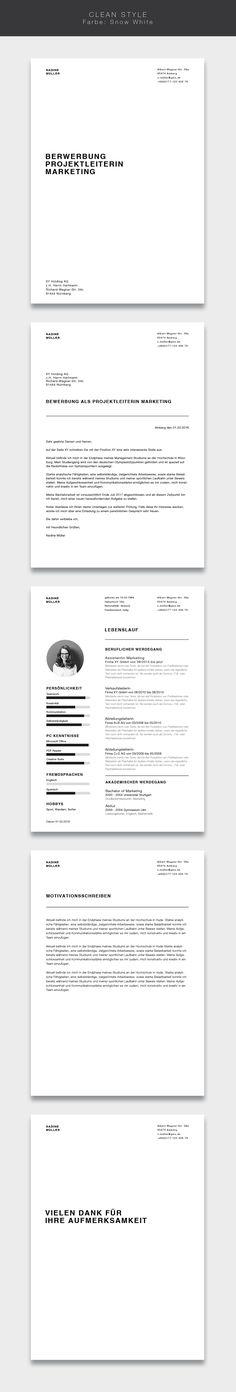 """Ab jetzt neu in unserem Shop. Die Bewerbungsvorlage ( #cvtemplate ) """"Clean Style"""" in der Farbe Snow White. Less is more. Einfaches und übersichtliches Design kombiniert mit einem strukturierten Aufbau. Mit der Vorlage """"Clean Style"""" lassen Sie alle Mitbewerber verblassen. Sie erhalten von uns ein Deckblatt, Anschreiben, Lebenslauf, Motivationsschreiben und Abschlussseite. Die Datei bekommen Sie als fertige Pages- oder Word-Datei inklusive Platzhaltertext mit Hinweisen. #grafikdesign #fashion"""