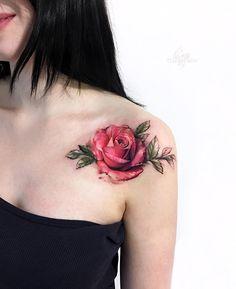Amazing rose shoulder tattoo - 70 Awesome Shoulder Tattoos