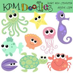INSTANT DOWNLOAD baby sea creatures digital clipart by kpmdoodles, $3.65