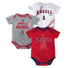 601d38fc1 Los Angeles Angels of Anaheim Majestic Newborn   Infant Three Strikes Bodysuit  Set - Red Gray White
