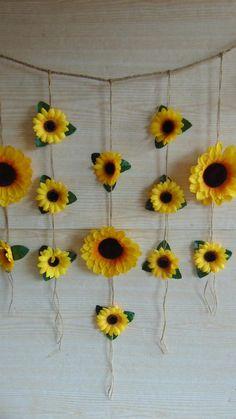 Sunflower Wedding Decor Sunflower Garland Bridal S Sunflower Nursery, Sunflower Room, Sunflower Party, Sunflower Baby Showers, Sunflower Flower, Bridal Shower Backdrop, Bridal Shower Rustic, Bridal Shower Decorations, Bridal Shower Favors