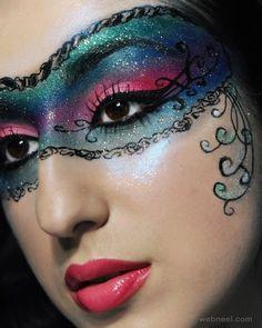 Masquerade mask make-up Makeup Geek, Eyeshadow Makeup, Glitter Eyeshadow, Ideas Maquillaje Carnaval, Maquillage Halloween, Halloween Face Makeup, Masquerade Mask Makeup, Masquerade Ball, Masquerade Costumes